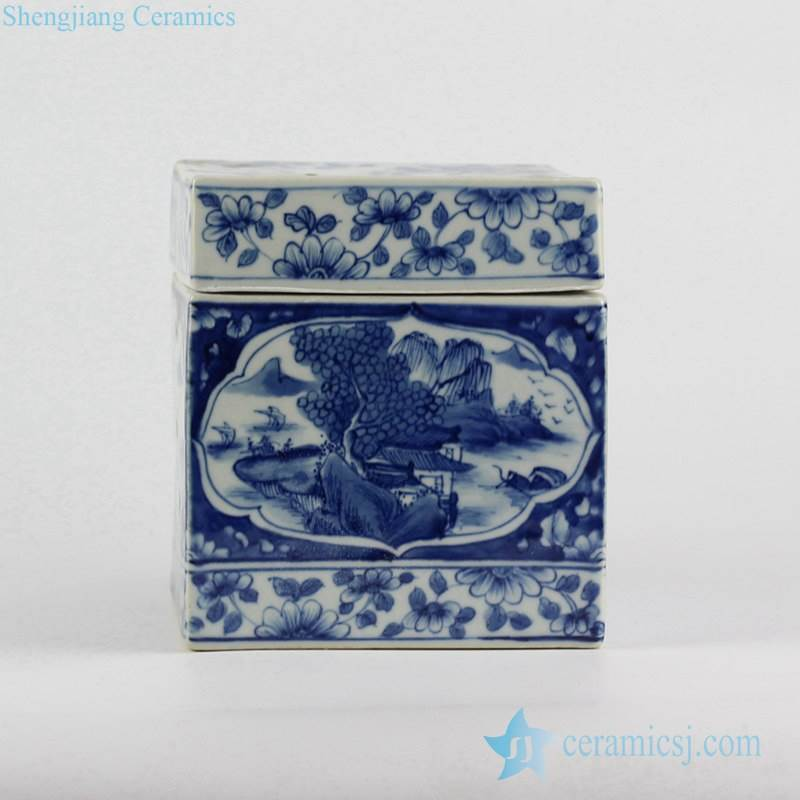 Hand paint blue and white river mountain pattern ceramic tissue box