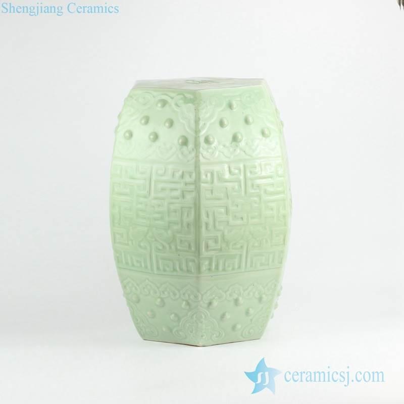 Pistachio green color celadon embossed porcelain stool