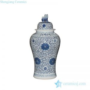 RYWY06-A 1.2 meter high Treasure and fairy flower pattern blue and white hand paint large porcelain ginger jar with lion knob