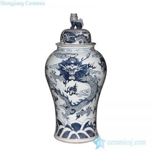 RYWY06-B Lion knob grandeur blue and white hand draft lion pattern tall ceramic ginger jar