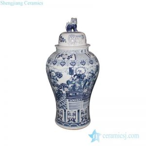 RYWY06-D Hand paint ancient China fairy tale pattern big porcelain temple jar
