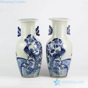 RZFI07 High quality cheap price hand drawing phoenix pattern pair of wedding porcelain jar with lug ears