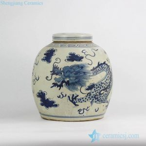 RZFZ05-F Asia traditional dragon pattern hand drawing antique porcelain jar