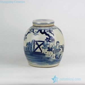 RZFZ05-G Free hand paint happy family pattern blue and white porcelain jar with flat lid