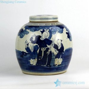 RZFZ05-H Blue and white ancient Chinese folk kung fu teaching pattern ceramic storage jar