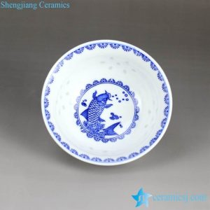 RZHX01-E Blue and white carp pattern score translucent rice pattern porcelain bowl