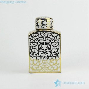 RZKA15A289 Gold pleated Rococo fern pattern square porcelain jar