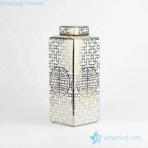RZKA15B281 Gold line porcelain square tin jar with flat lid