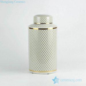 RZKA161302 Golden cross design tubular shape porcelain ceramic jar