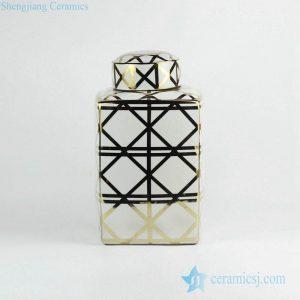 RZKA161306 Gold crossing line wholesale porcelain square tin