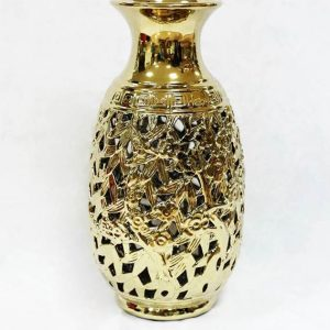 RZKA171014 Carved out gold leaves porcelain flower jar