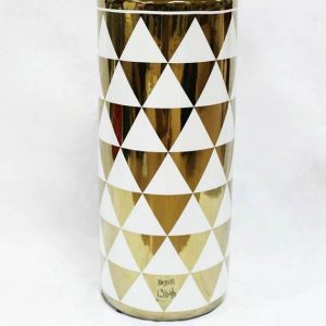 RZKA171034 Upside down gold triangle pattern ceramic umbrella stand