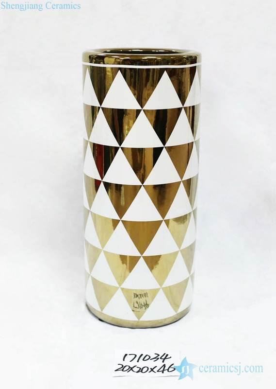 Upside down gold triangle pattern ceramic umbrella stand