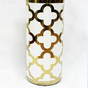 RZKA171044 Golden plated Clubs pattern white background ceramic umbrella stand