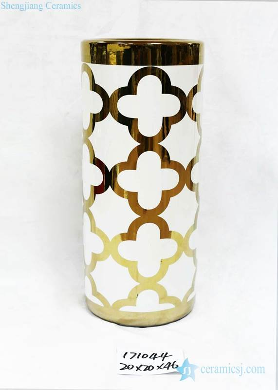 Golden Clubs pattern white background ceramic umbrella stand