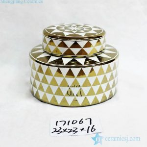 RZKA171067 Trilateral pattern gold and white flat porcelain jar