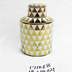RZKA171068 Medium size household gold and white triangulum porcelain jar