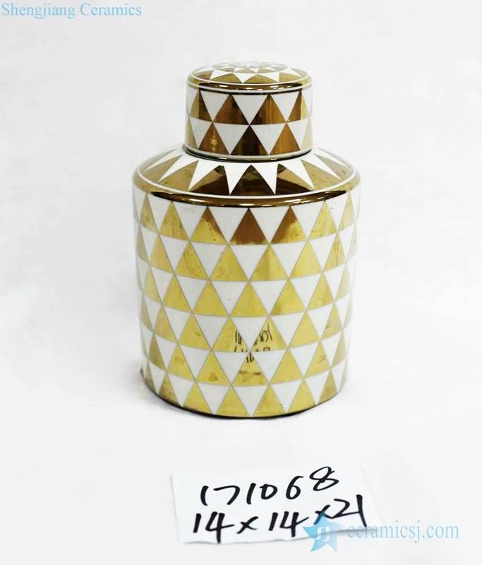 Medium size household gold and white triangulum porcelain jar