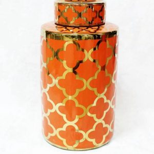 RZKA171082 Dark orange and gold clubs pattern glossy porcelain storage jar