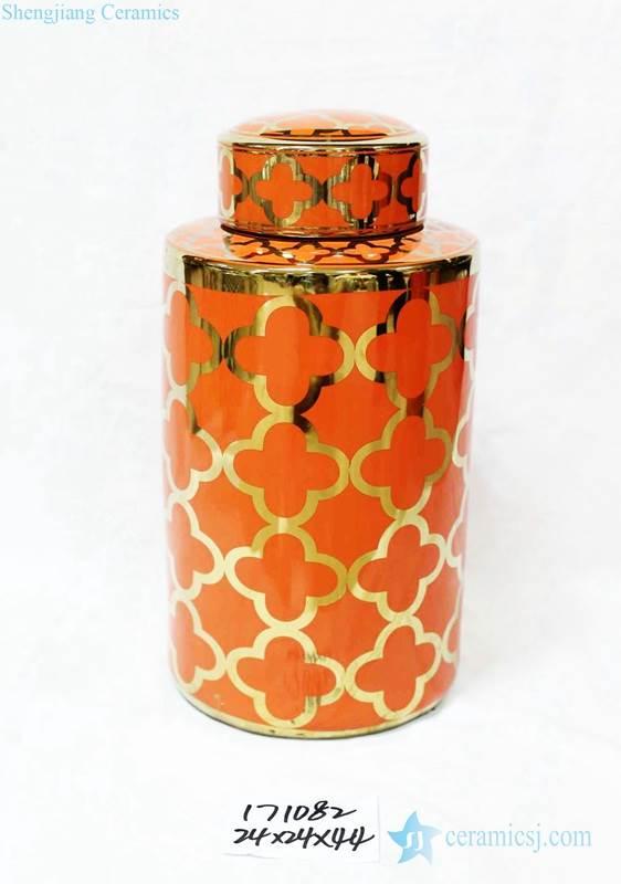 Dark orange and gold clubs pattern glossy porcelain storage jar