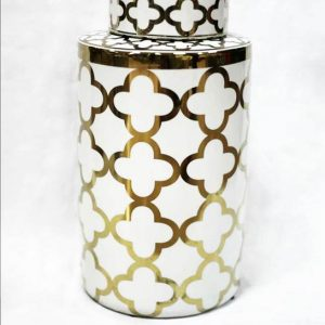 RZKA171096 White and golden Clubs pattern shiny interior design porcelain jar