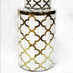 RZKA171096 White and golden Clubs pattern shiny interior design porcelain jar