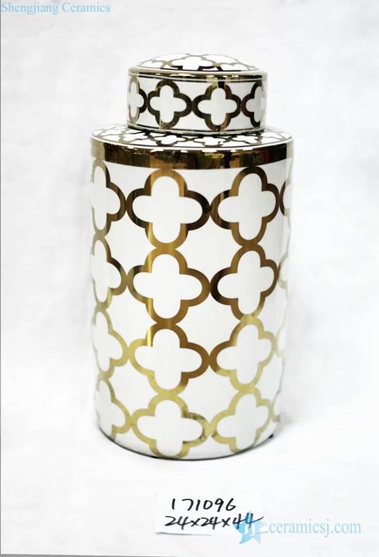 White and golden Clubs pattern shiny interior design porcelain jar