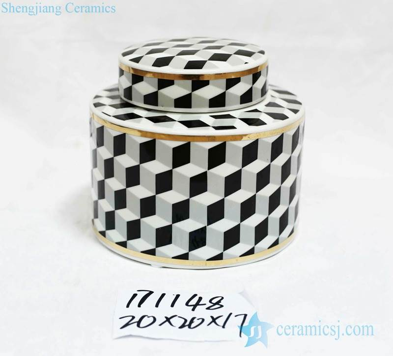 Post modernity cube shadow pattern gold line ceramic jar