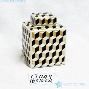 RZKA171149 Gold black white color cube pattern porcelain square jar