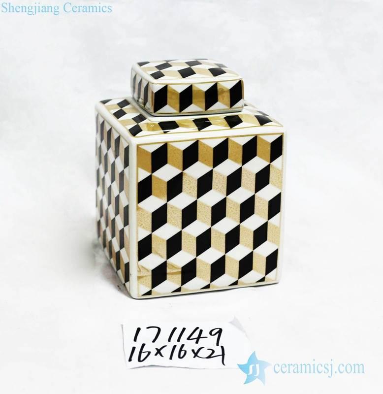 Gold black white color cube pattern porcelain square jar