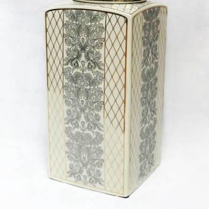 RZKA171162 European royal style fern and netting pattern square porcelain jar