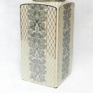 RZKA171162 European royal style fern and netting pattern square porcelain jar