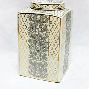 RZKA171163 Medium size square fern and netting pattern ceramic jar