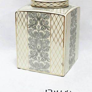 RZKA171164 Plump black fern and gold netting pattern box porcelain jar