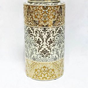 RZKA171165 Paisley pattern tubular shape golden porcelain jar