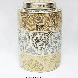RZKA171166 European royal decor pattern golden glossy porcelain jar