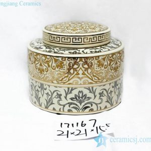 RZKA171167 Gold and silver floral mixed style ceramic jar