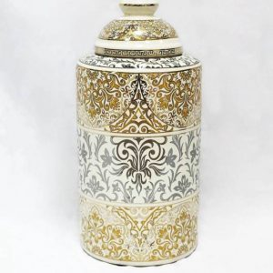 RZKA171168 Gold and silver electroplated floral porcelain jar