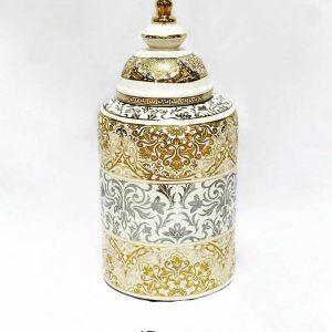 RZKA171169 Gold silver combined floral porcelain jar