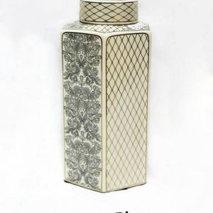 RZKA171171 Hexagonal gold netting and black floral ceramic jar