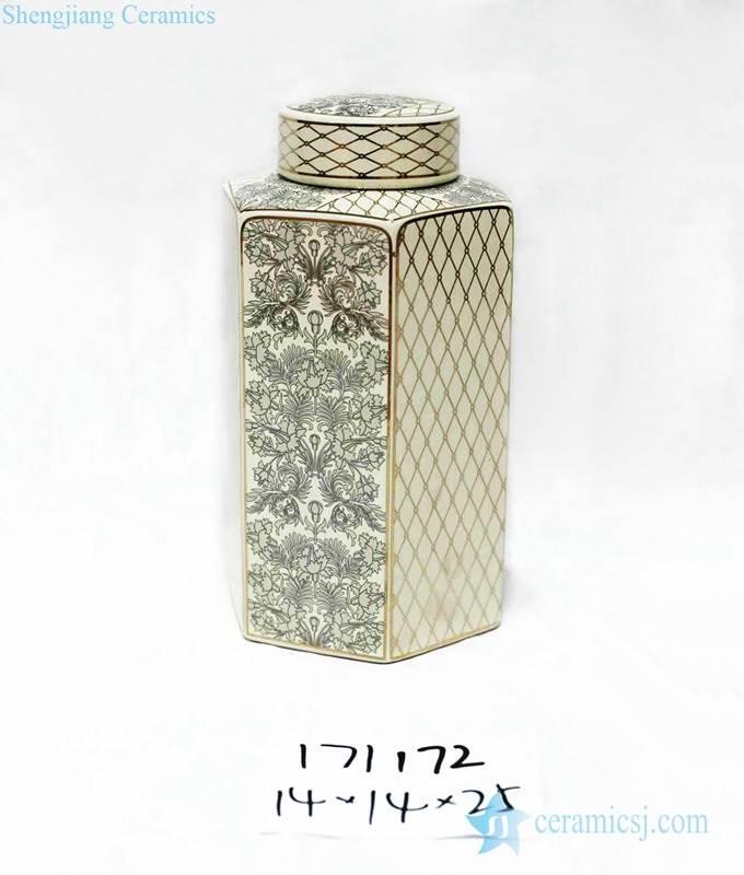 Medium size gold and black square box ceramic jar