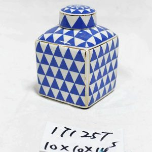 RZKA171257 Blue triangle with gold frame porcelain box jar