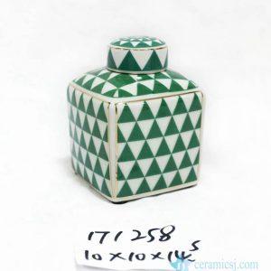RZKA171258 Grass green triangle cute porcelain box jar