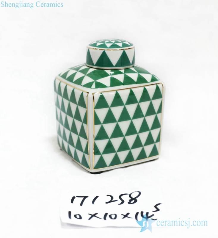 Green triangle porcelain box jar