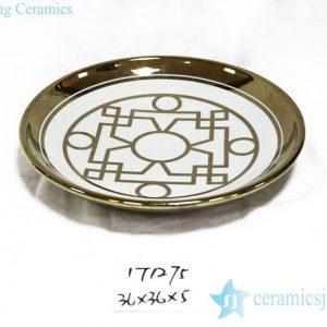 RZKA171275 Gold pleated geometric line pattern royal porcelain plate