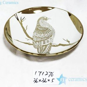 RZKA171276 Gold parrot pattern ceramic round decor tray