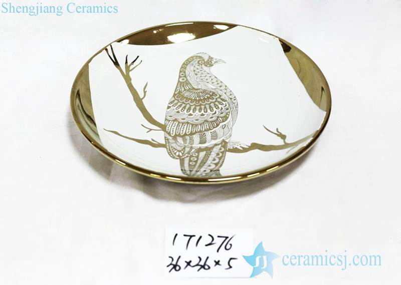 Gold parrort pattern ceramic round decor tray
