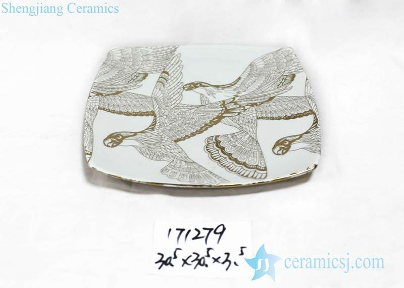 Golden eagle pattern square porcelain salad plate