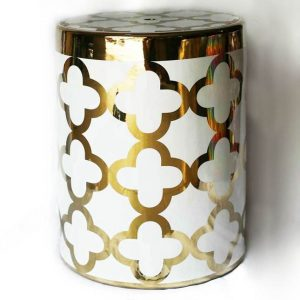 RZKA171288 Gold pleated rim floral pattern porcelain bathroom stool
