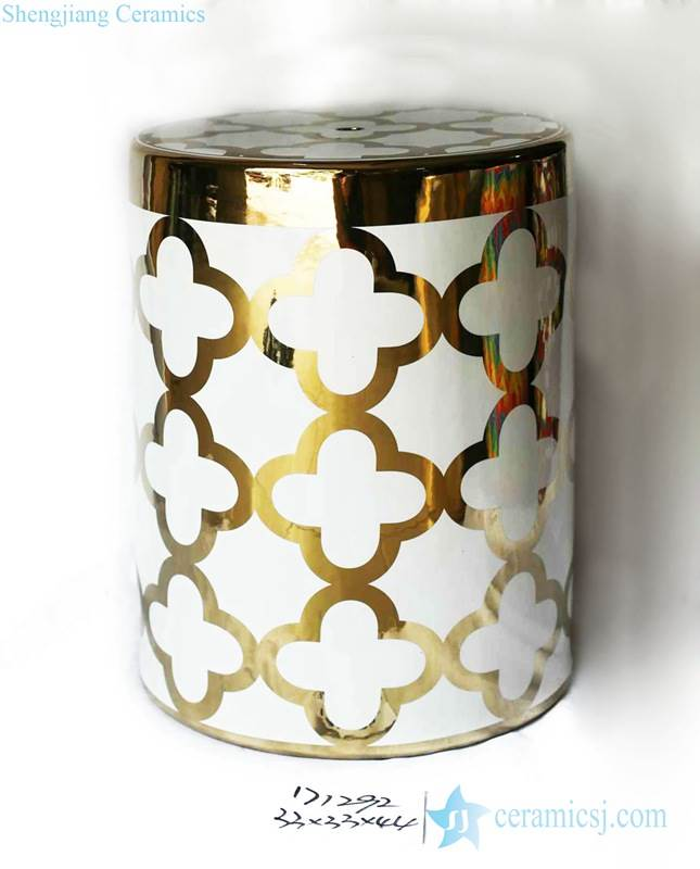 Gold pleated rim floral pattern porcelain bathroom stool